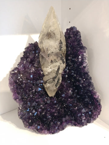 Amethyst with Calcite from Uruguay