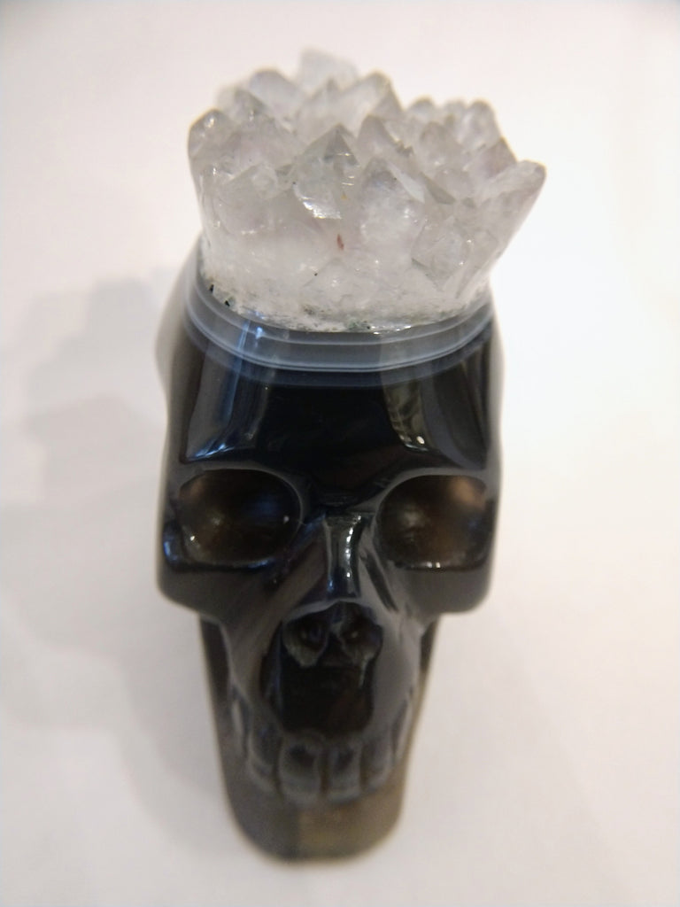 Brazilian Agate Skull with Quartz Crown