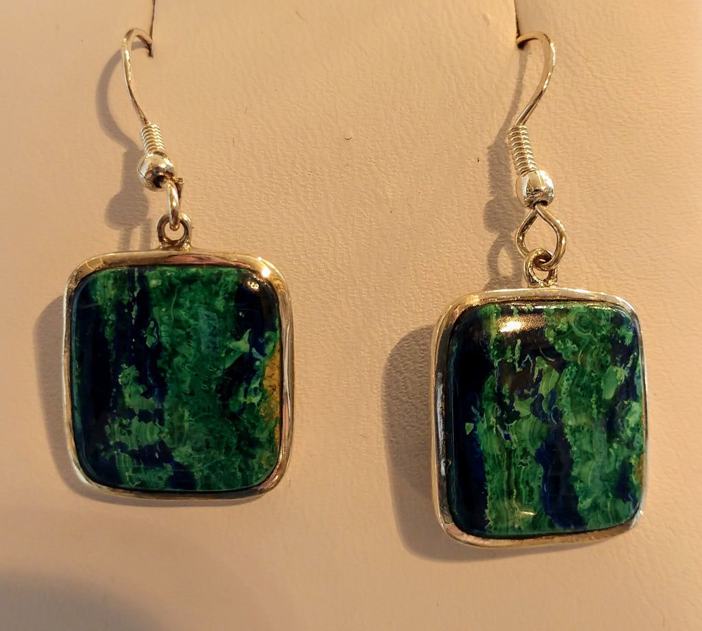 Malachite and azurite earrings in sterling silver setting