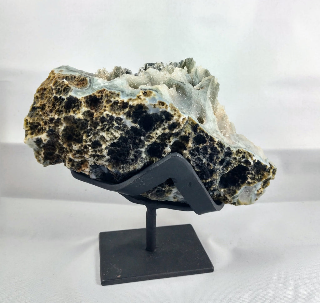Black Quartz Stalactite Formation, 1.32 lbs. w/ Custom Metal Stand