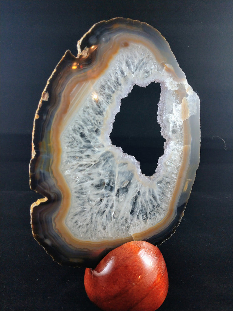 Agate Slice with Wooden Display Stand