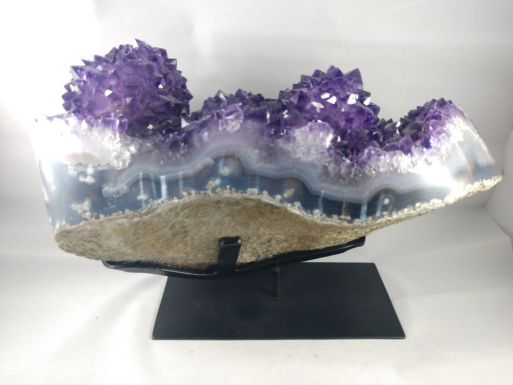 Amethyst Stalactite Formation, 9.39 lbs. w/ Custom Metal Stand