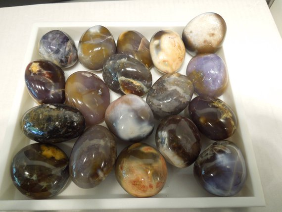 Purple Agate Palm Stone