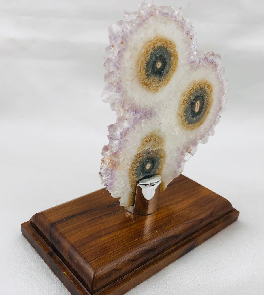 Amethyst Stalactite Slices in Wood Bases