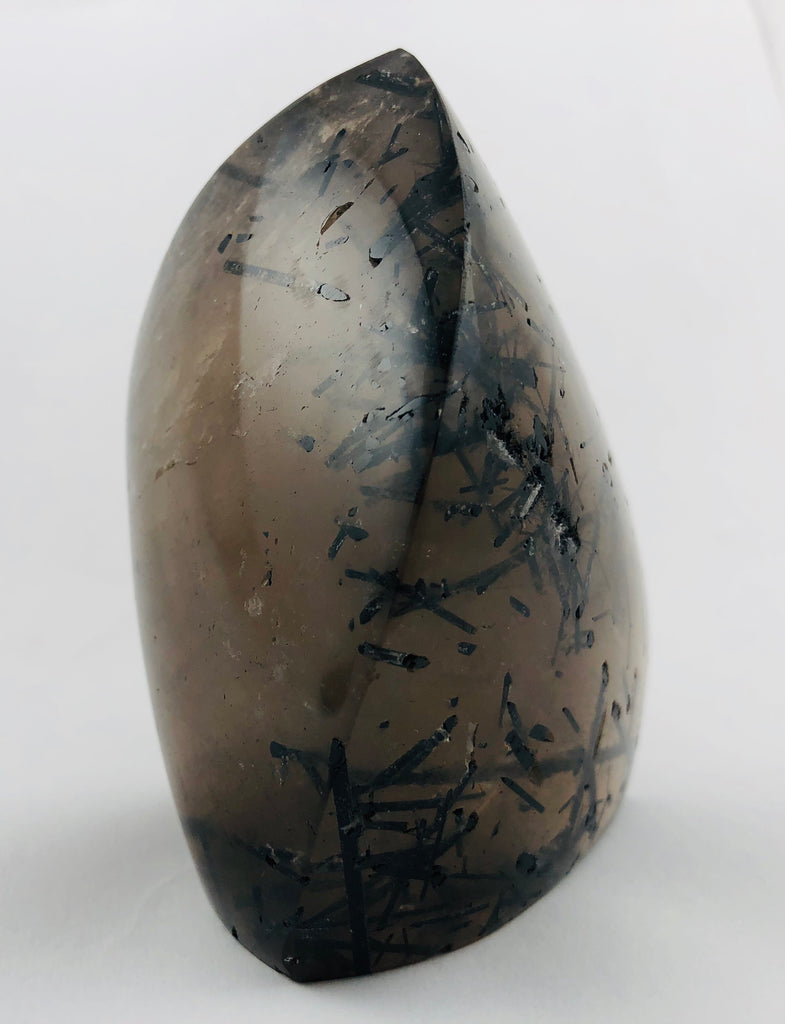 Tourmalinated smoky quartz free form