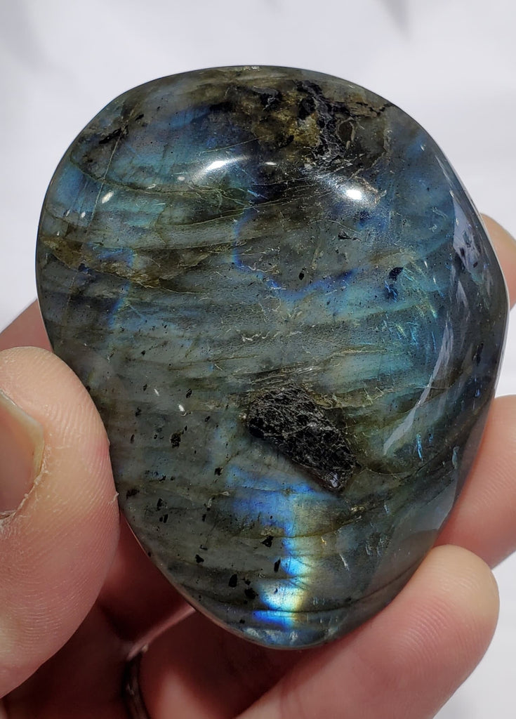 Electric Blue Labradorite Palm Stone, Madagascar
