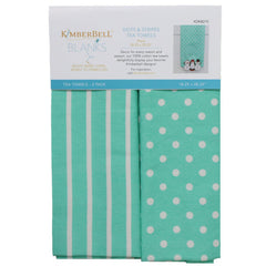 Kimberbell Designs Stripes and Dots Aqua Tea Towels