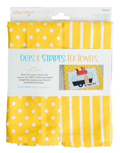 Kimberbell Dots & Striped Tea Towels Lemon
