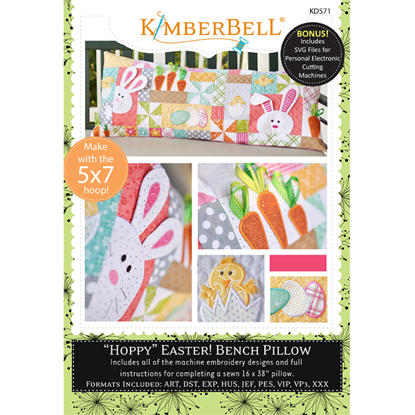 "Kimberbell ""Hoppy"" Easter Bench Pillow Machine Embroidery CD"