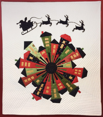 Dresden Neighborhood quilt with Laser-Cut Santa and Reindeer applique