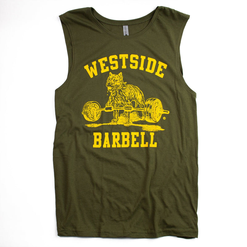 WSBB Mens Sleeveless Olive Drab T-shirt