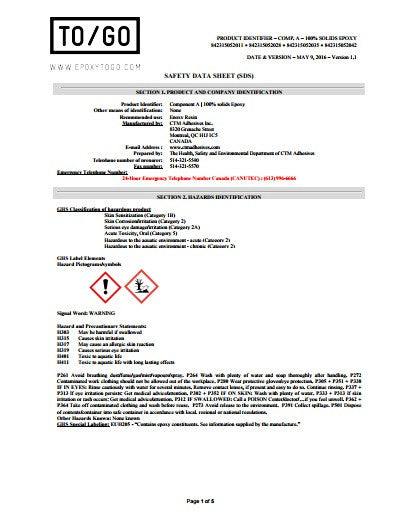 Epoxy's Material Safety Data Sheet (MSDS)