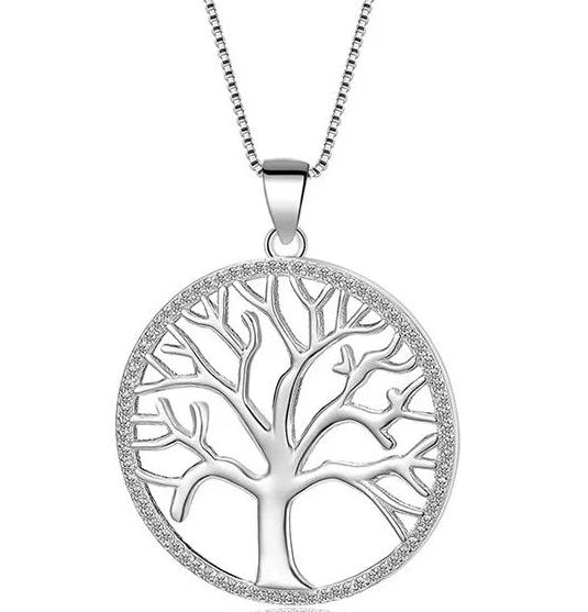 Tree of Life with cz Stone Silver Necklace
