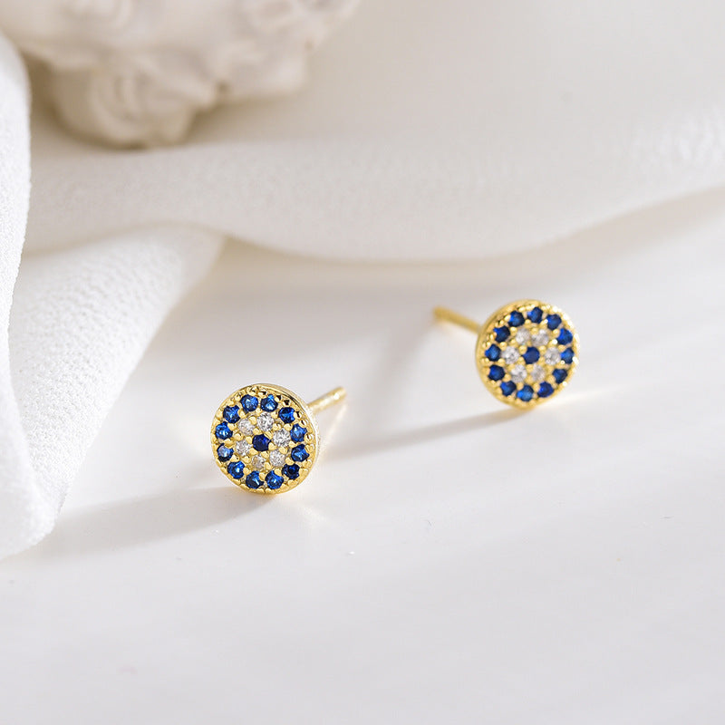 Classic Evil Eye Stud Earrings with Cubic Zirconia Stones