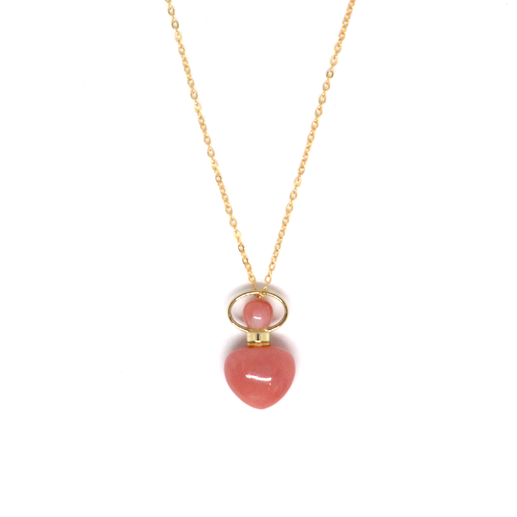 Pink Opal Heart Shape Essential Oil Diffuser Necklace