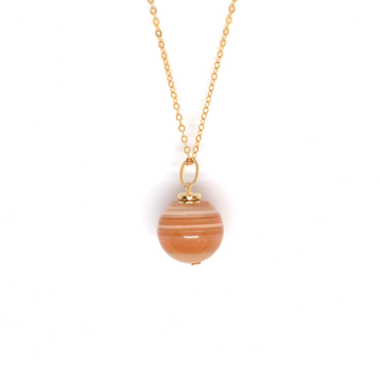 Banded Carnelian Gold Aroma Necklace