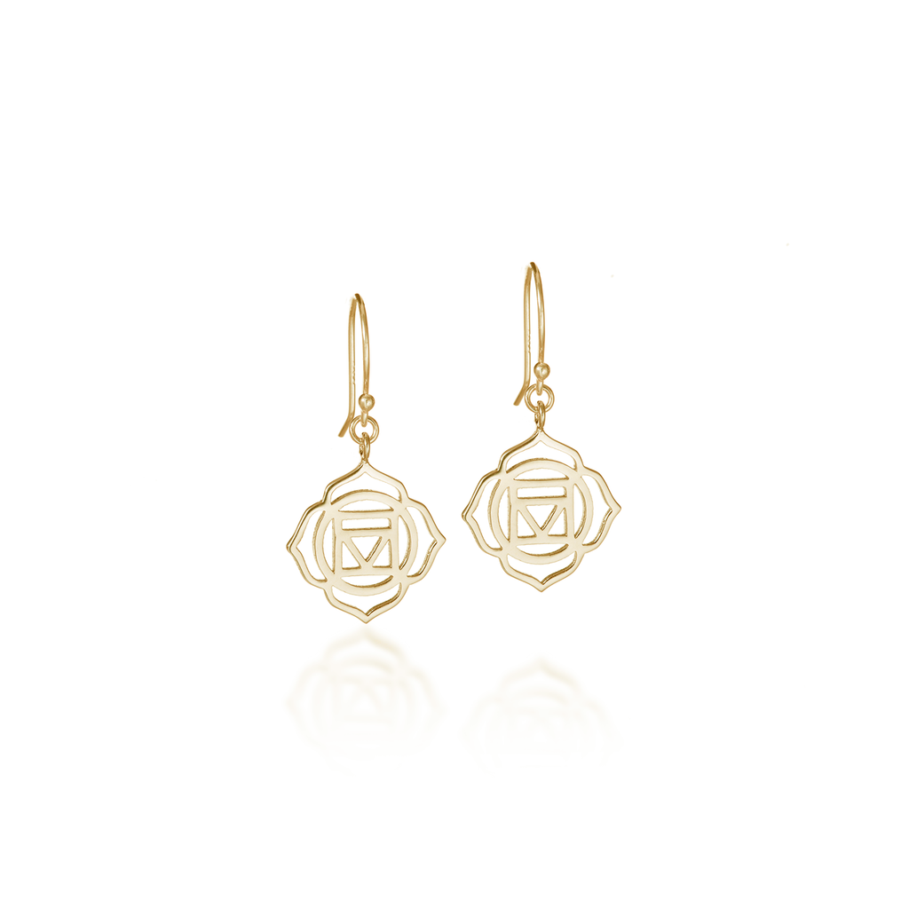 Root Chakra Yellow Gold Dangle Earrings