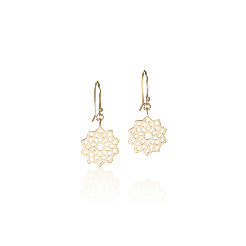 Crown Chakra Yellow Gold Dangle Earrings