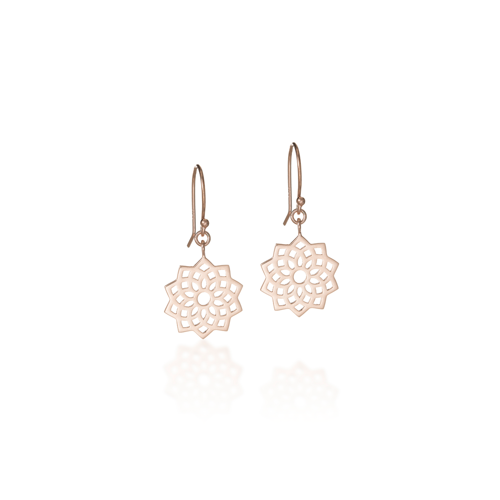 Crown Chakra Rose Gold Dangle Earrings