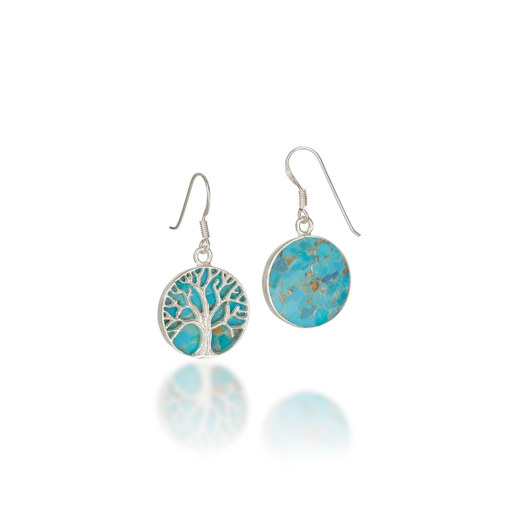 Tree Of Life Natural Turquoise Earrings