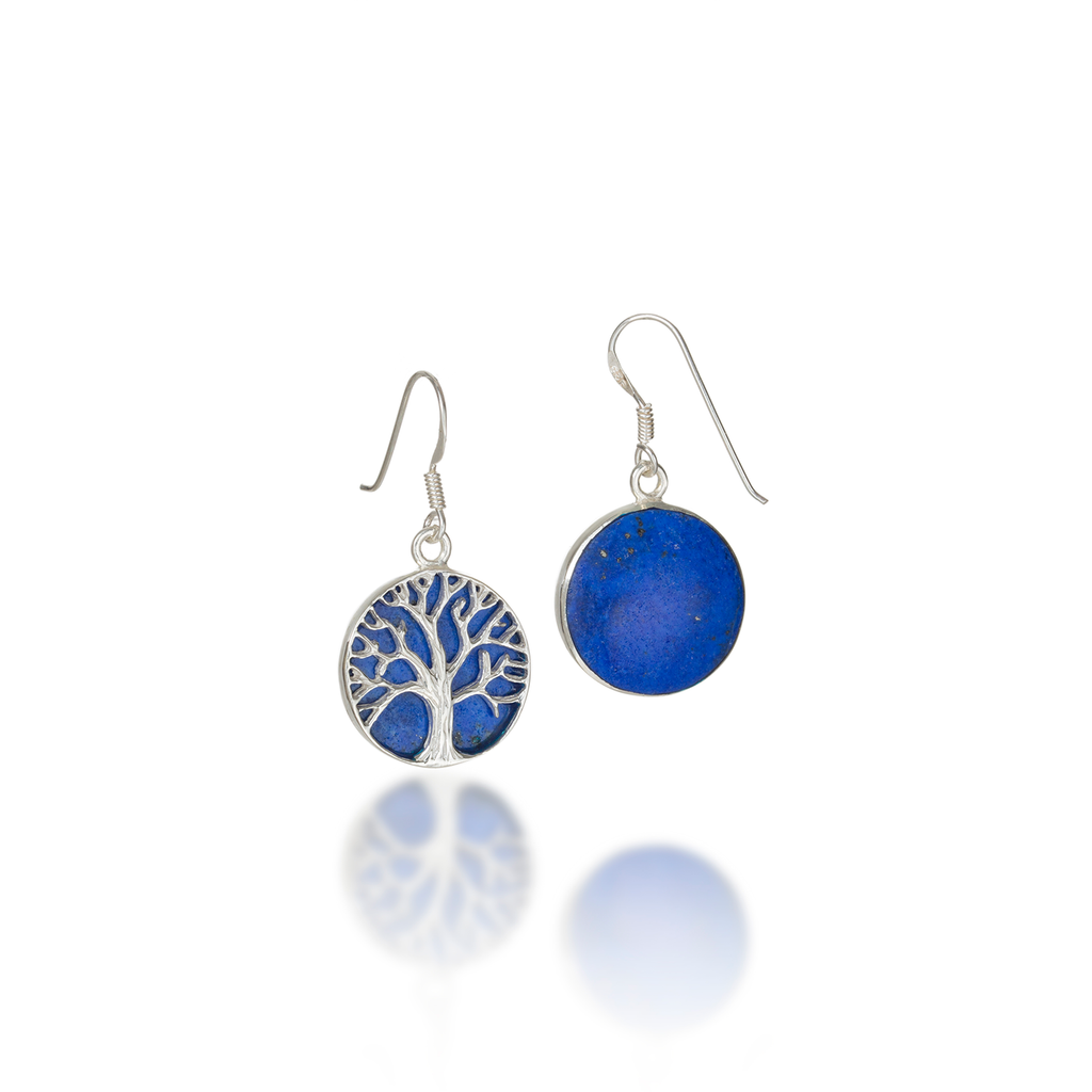 Tree Of Life Natural Lapis Lazuli Earrings