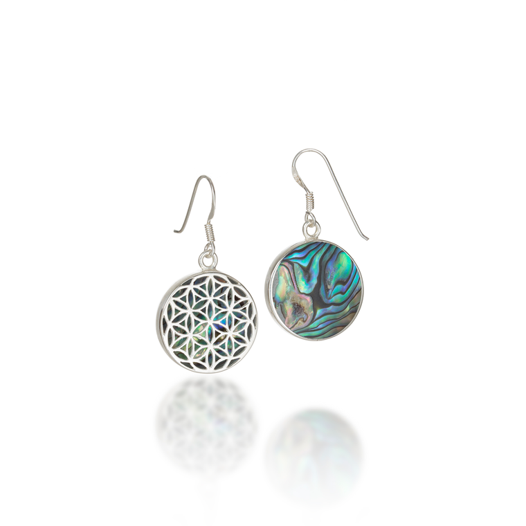 Flower of Life Paua Shell Dangle Earrings