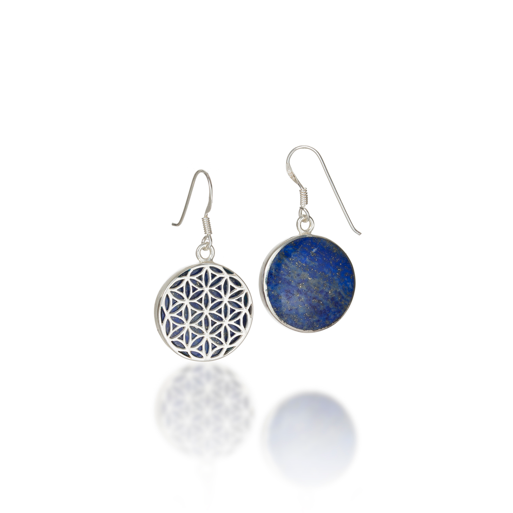 Flower of Life Natural Gemstone Natural Lapis Lazuli Dangle Earrings