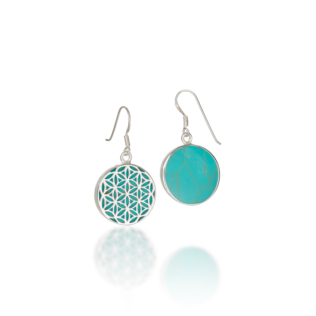 Flower of Life Natural Gemstone Natural Turquoise Dangle Earrings