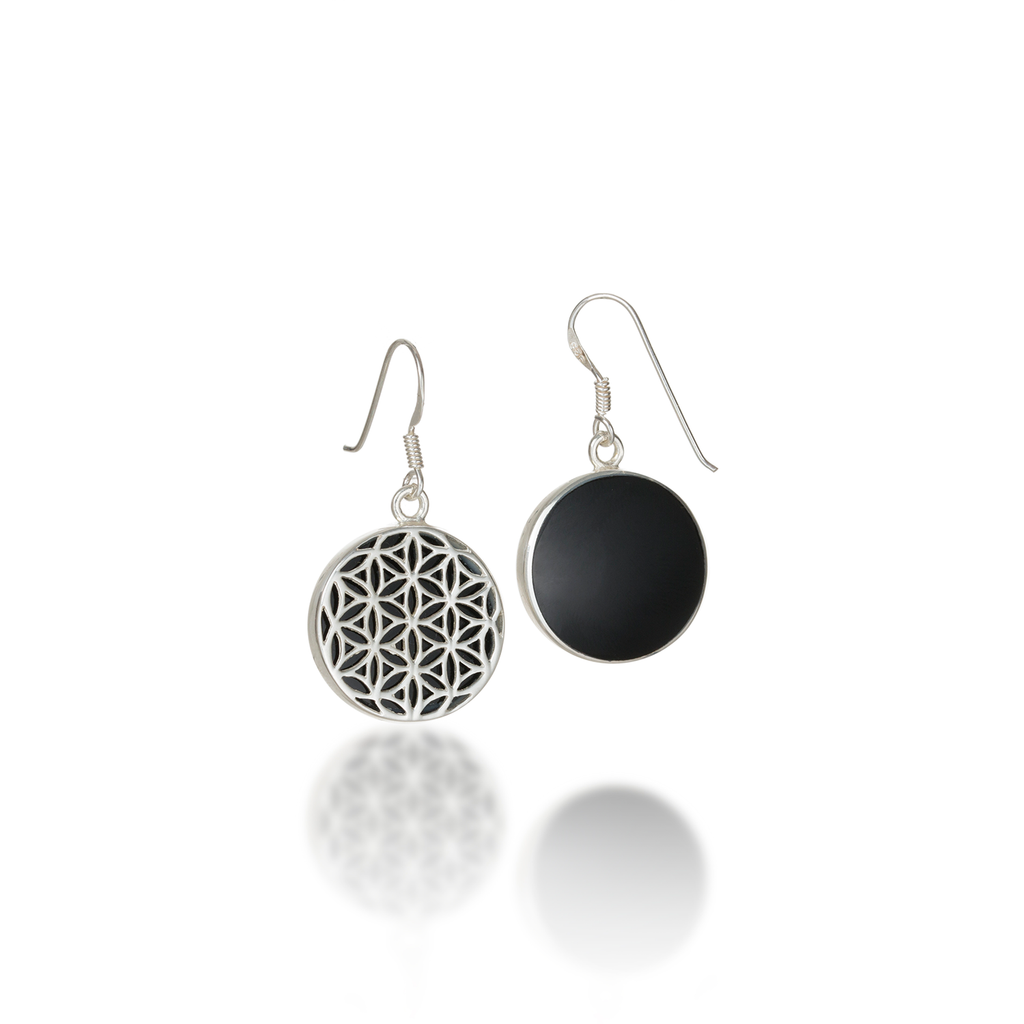 Flower of Life Natural Gemstone Natural Black Agate Dangle Earrings