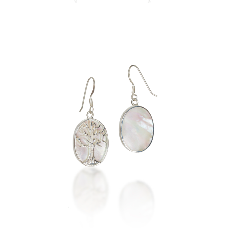 Tree Of Life Oval Mother of Pearl Earrings
