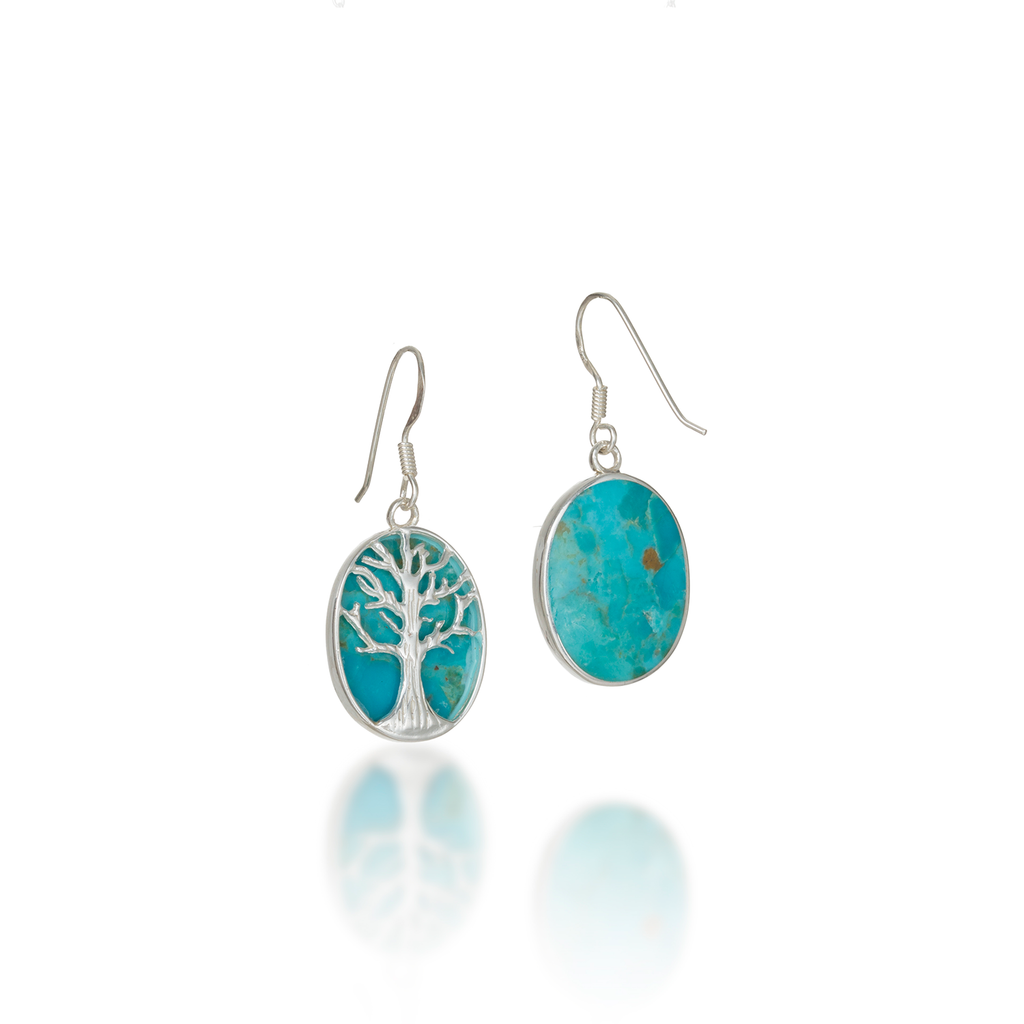 Tree Of Life Oval Natural Turquoise Earrings