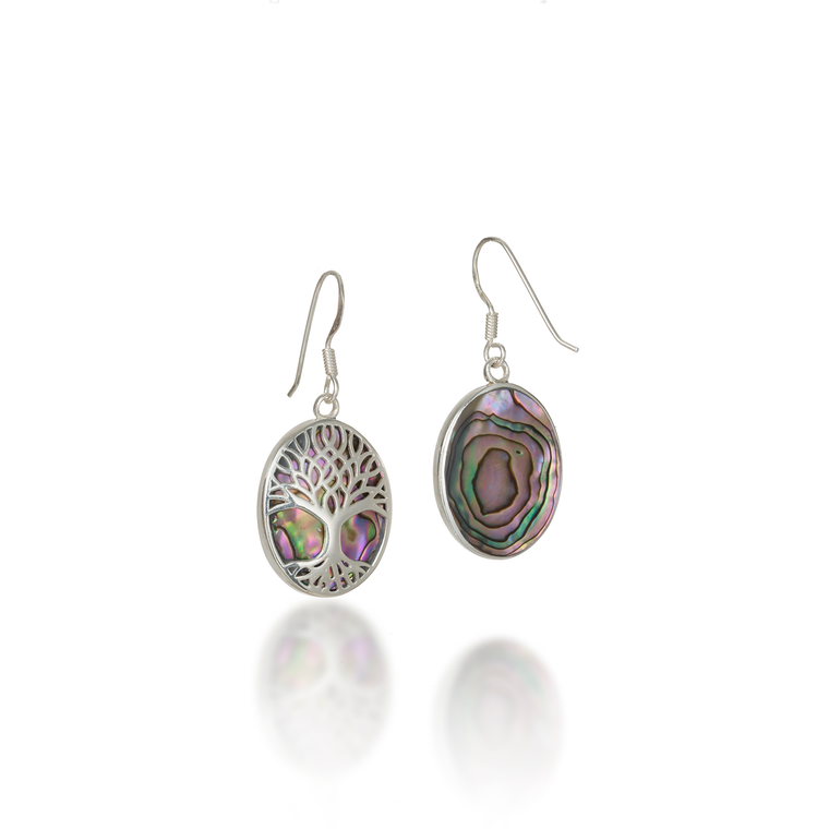 Tree Of Life Oval Paua Shell Earrings