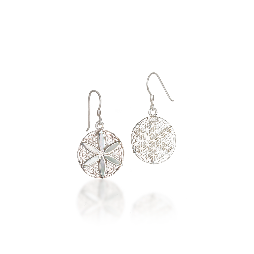 Seed of Life Mother of Pearl Earrings
