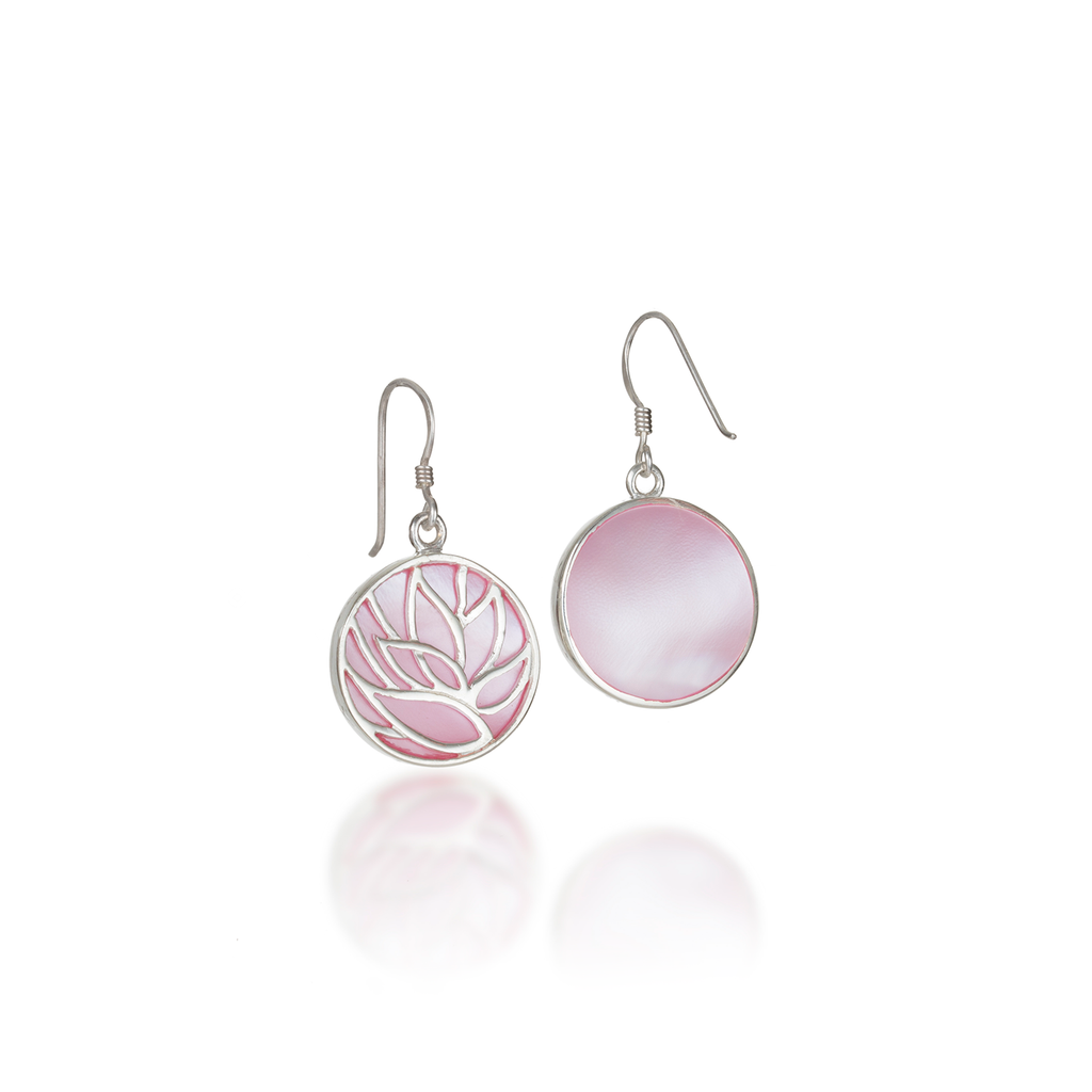 Lotus Pink Mother of Pearl Earrings