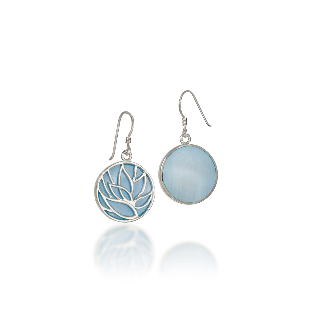 Lotus Blue Mother of Pearl Earrings