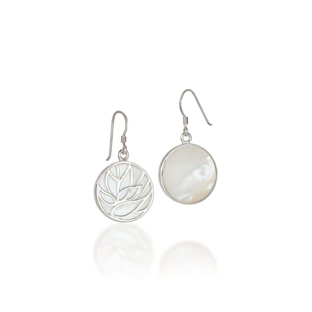 Lotus Mother of White Pearl Earrings