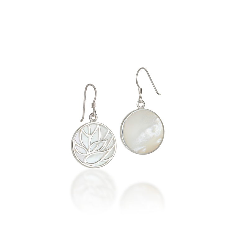 Lotus Mother of Pearl Earrings
