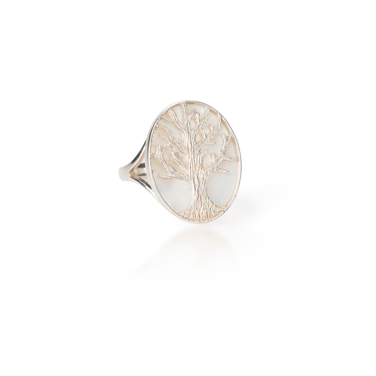 Tree of Life Oval Mother of Pearl Ring