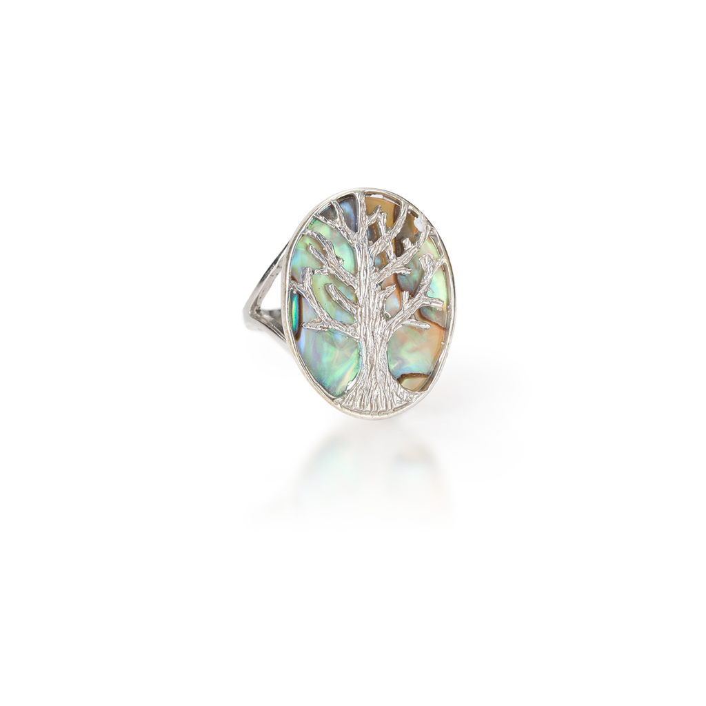 Tree of Life Paua Shell Ring
