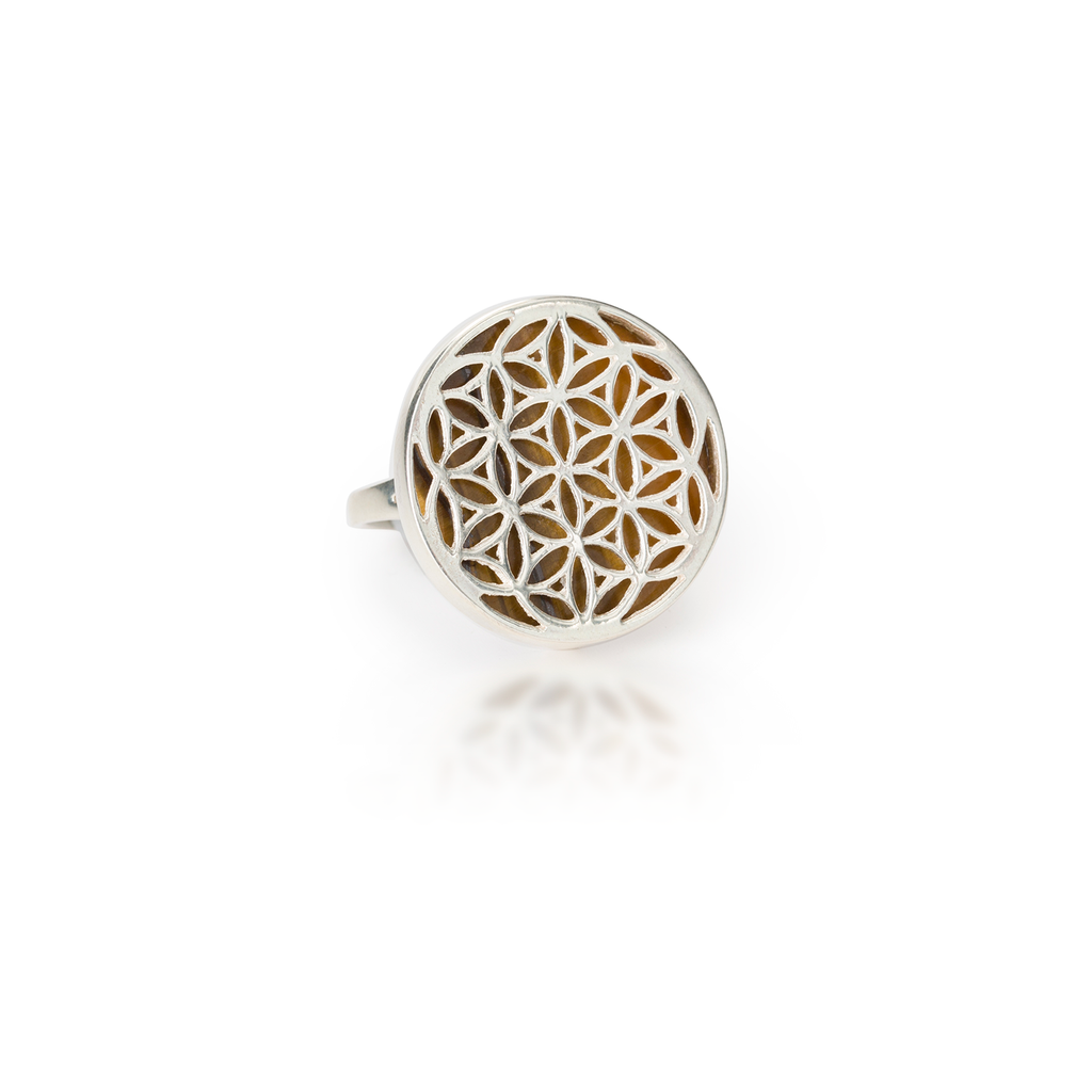 Flower of Life Natural Gemstone Natural Tiger Eye Ring