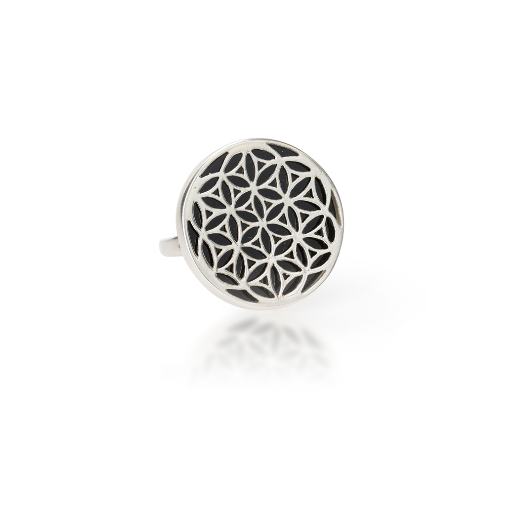 Flower of Life Natural Gemstone Natural Black Agate Ring