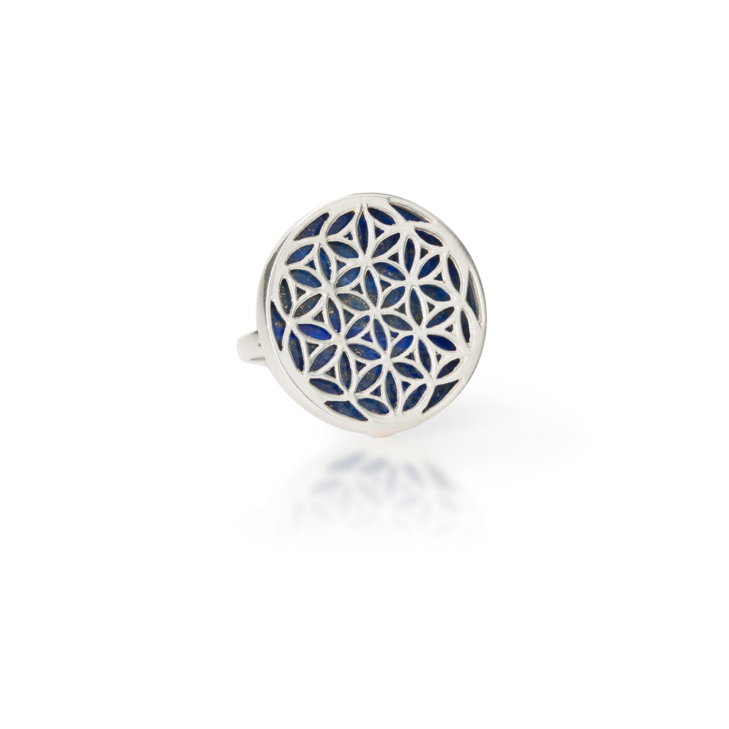 Flower of Life Natural Gemstone Natural Lapis Lazuli Ring