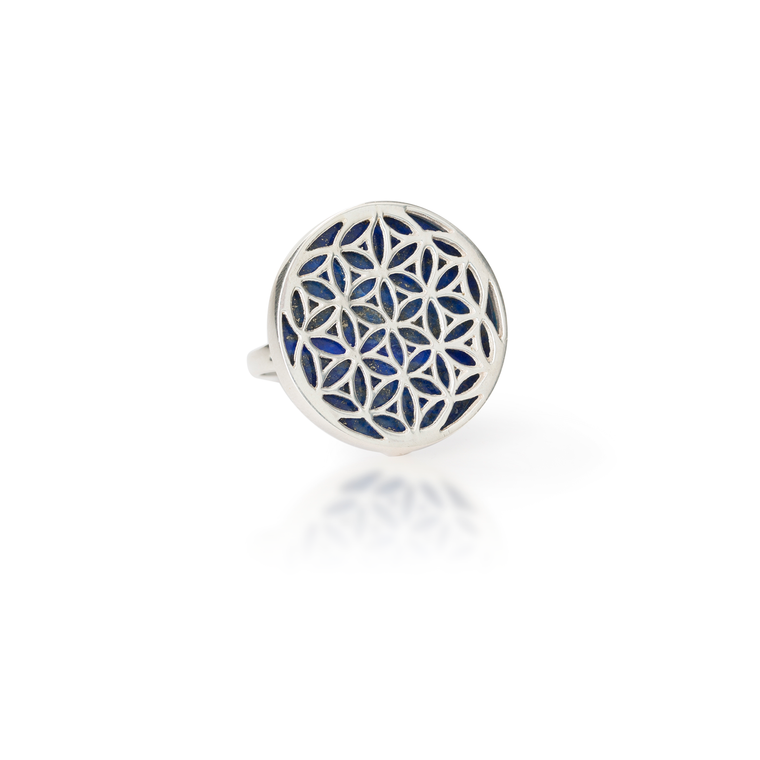 Flower of Life Natural Gemstone Ring