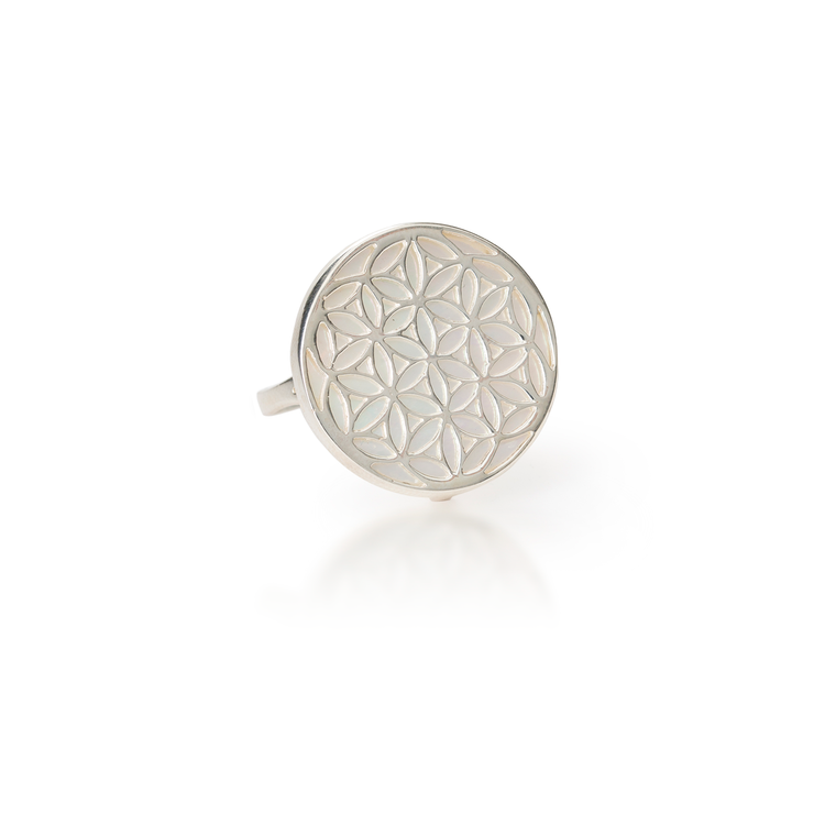 Flower of Life Mother of Pearl Ring
