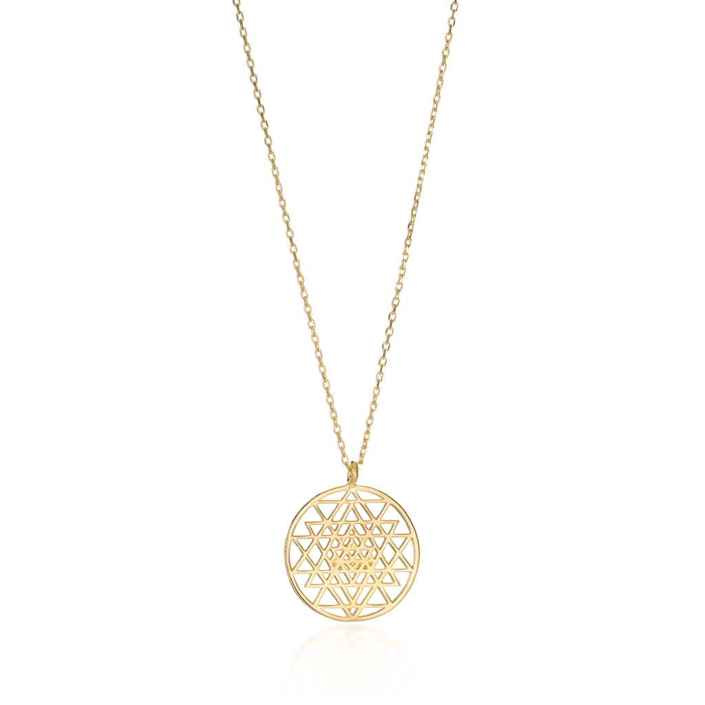 Sri Yantra Yellow Gold Necklace