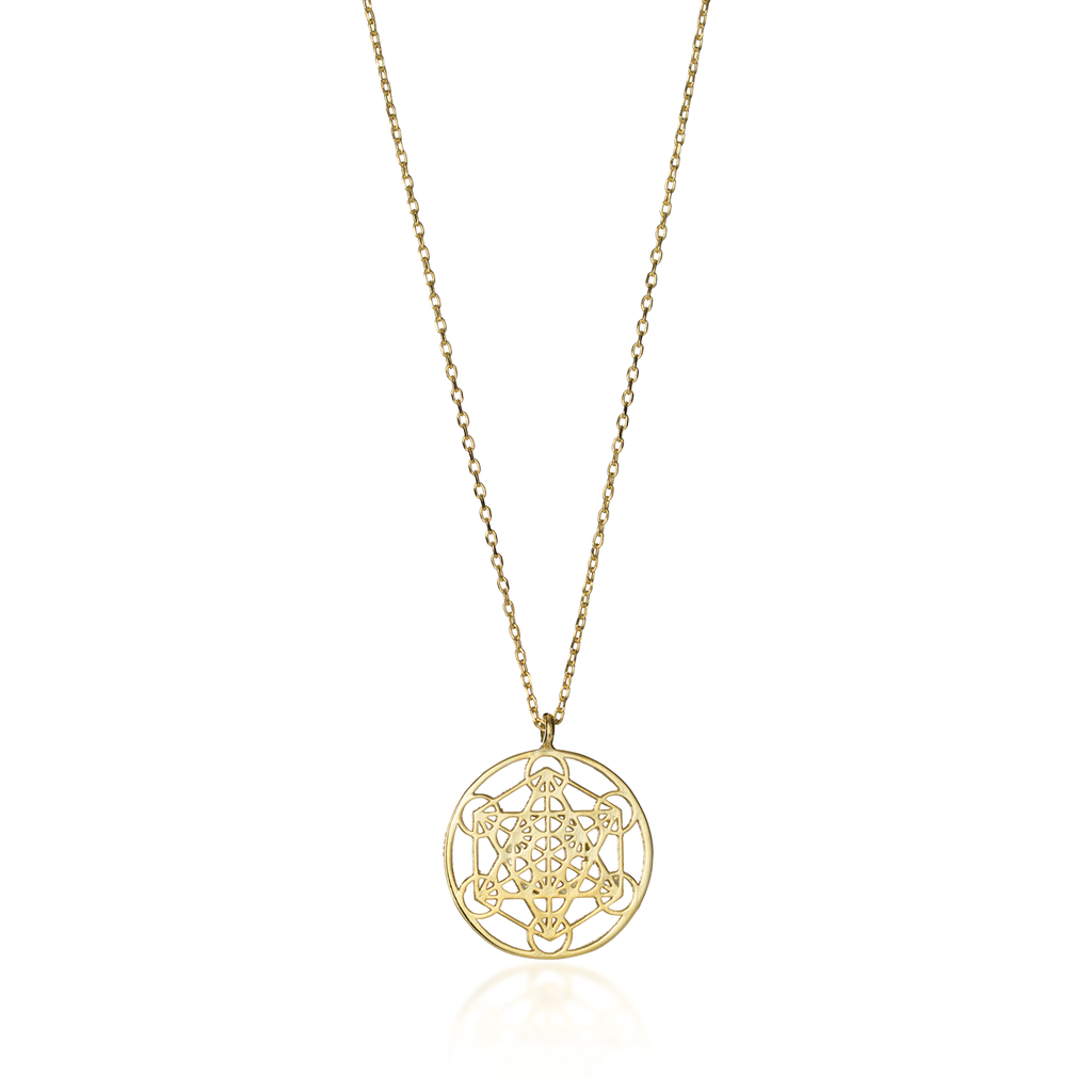 Metatron's Cube Yellow Gold Necklace