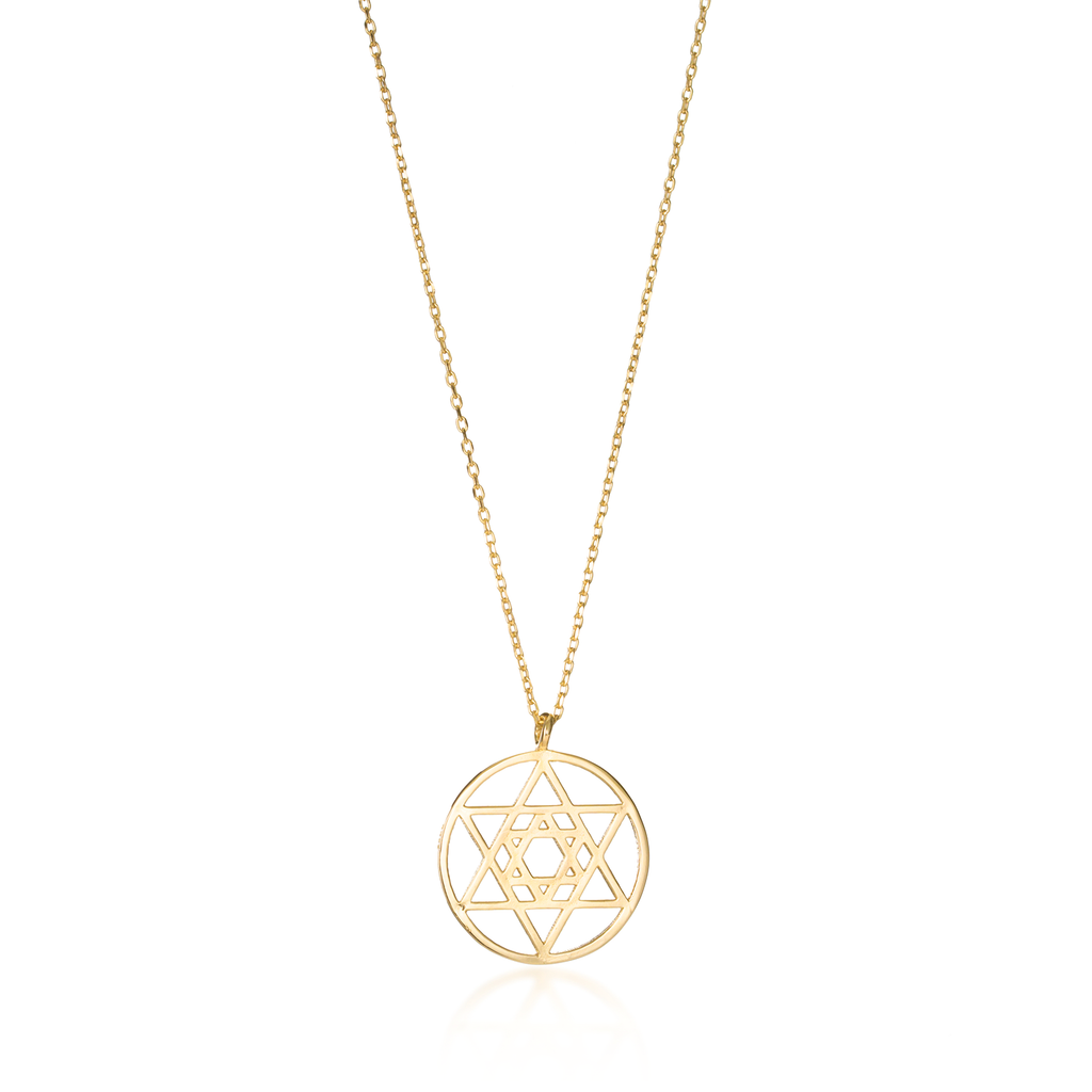 Star Of David Yellow Gold Necklace