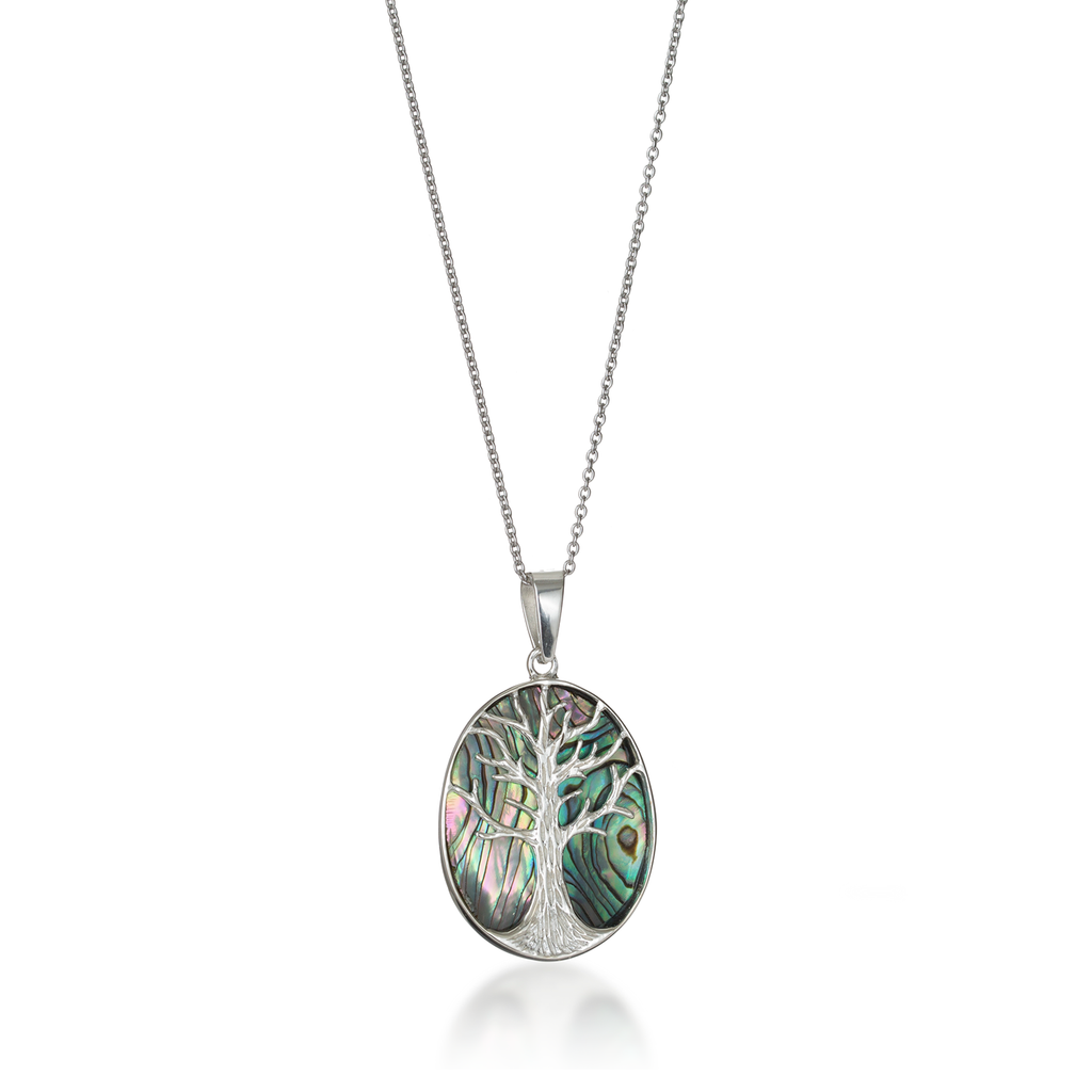 Tree of Life Oval Paua Shell Necklace Large