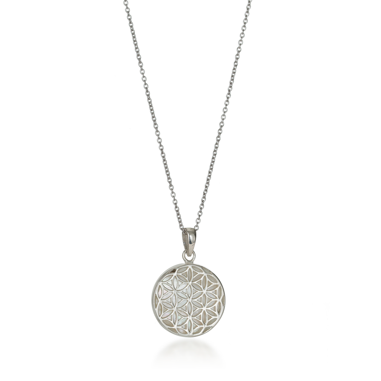 Flower of Life Mother of Pearl Necklace