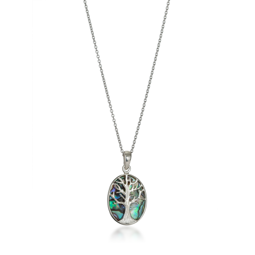 Tree of Life Oval Paua Shell Necklace Small